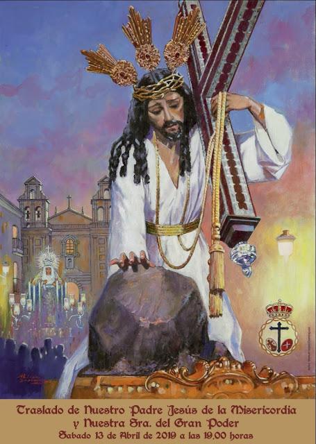 Cartel anunciador del Traslado de la Cofradía de la Misericordia y Gran Poder de Málaga, obra de Manuel López Domínguez