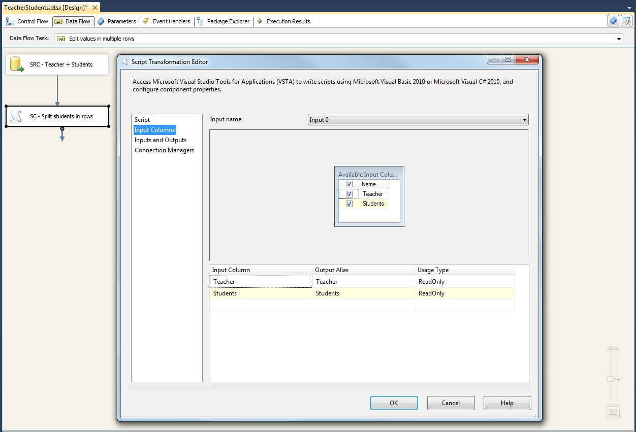 Microsoft SQL Server Integration Services: Split multi value column