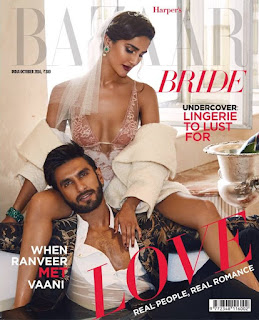 Vaani Kapoor with Ranveer Singh on cover of Harpers Bazaar Bride October 2016