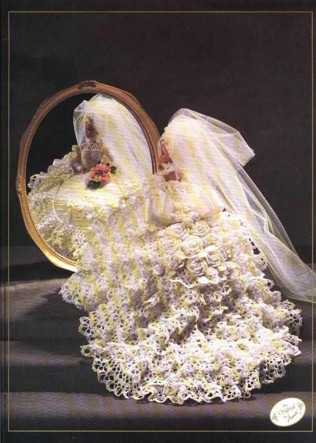 Fantástico Vestido de Noiva de Crochê Para Barbie