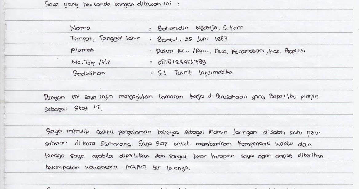 Contoh Surat Lamaran Tulis Tangan Contoh Surat Pribadi Dan Contoh