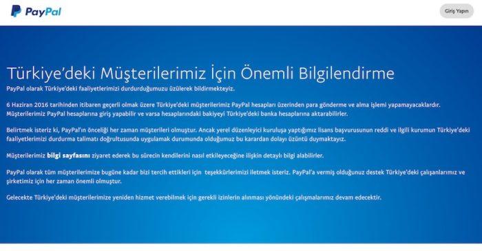 PayPal Türkiye'deki Çalışmalarını Durduruyor