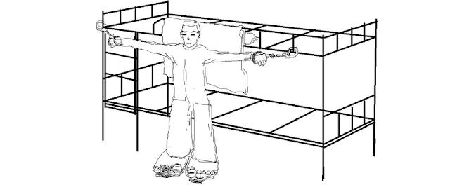 马三家教养院的'大挂'酷刑 - 《马三家来信》插图(孙毅绘)