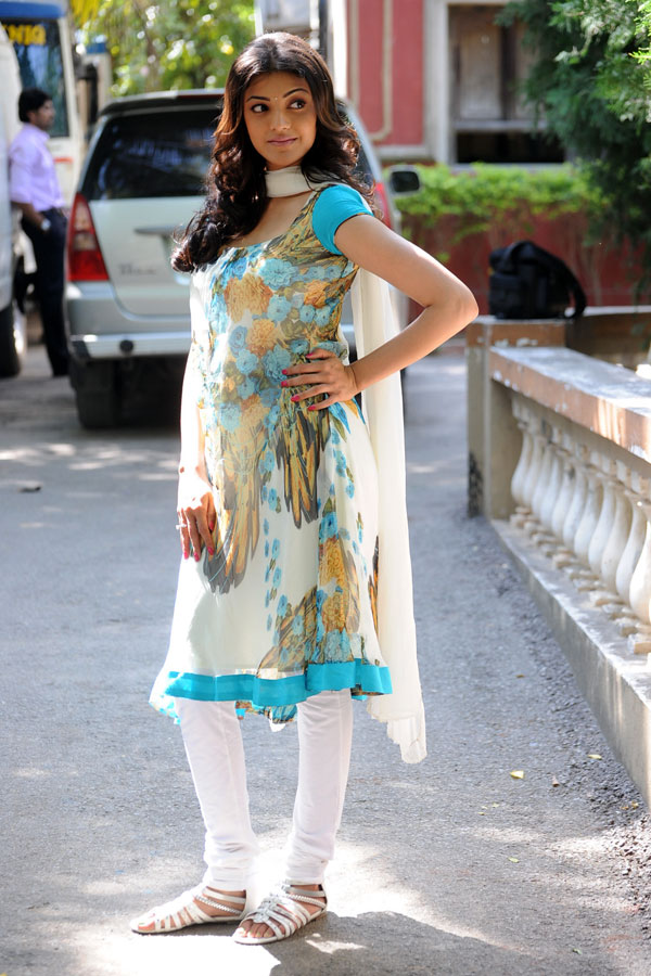 Actress Kajal Agarwal Hot Photo Shoot In White Churidar