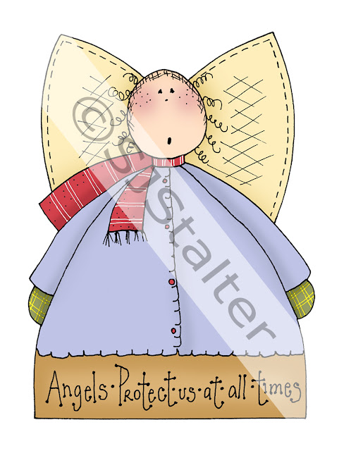Winter Angel Hand Painted Clip Art