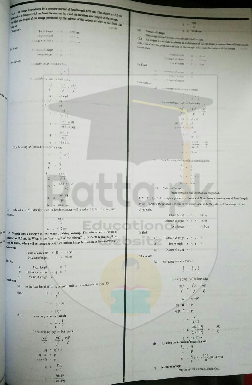 10th Physics Chapter 12 Geometrical Optics Numerical Problems 3