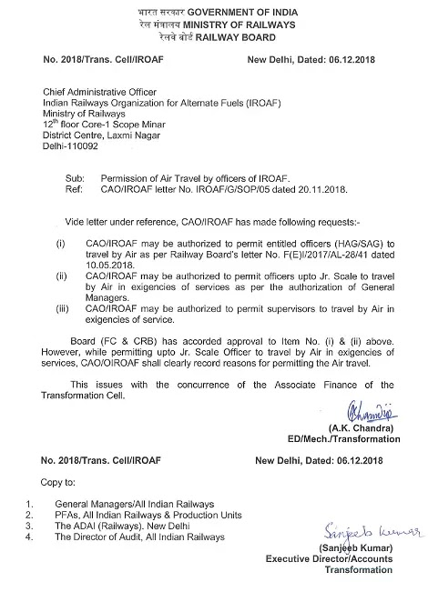 Air Travel by Officers of IROAF – Railway Board Permission reg.