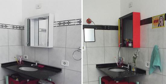 cores no banheiro, espelho colorido, decoracao banheiro, bathroom decor, bathroom, banheiro, gabinete, gabinete banheiro