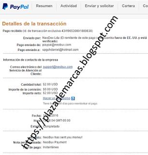 Comprobante de pago Neobux