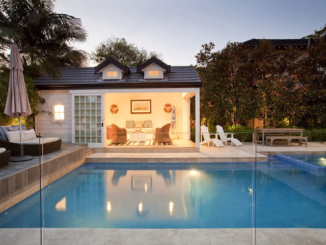Driftwood interiors hamptons pool house in the heart of for Pool design sydney