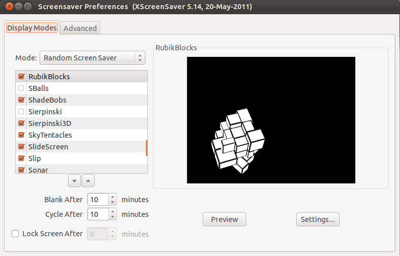 Ubuntu 11 10 Comes with no Screensaver: How to Enable it?
