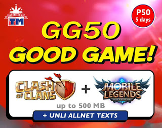 TM GG50 – 5 Days Unli All Net Texts, Mobile Legends + Clash of Clans