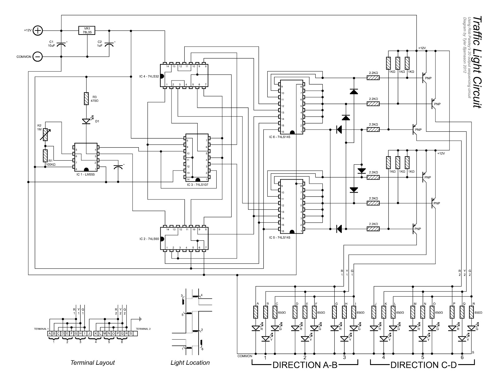 Wiring diagram for traffic light controller circuit