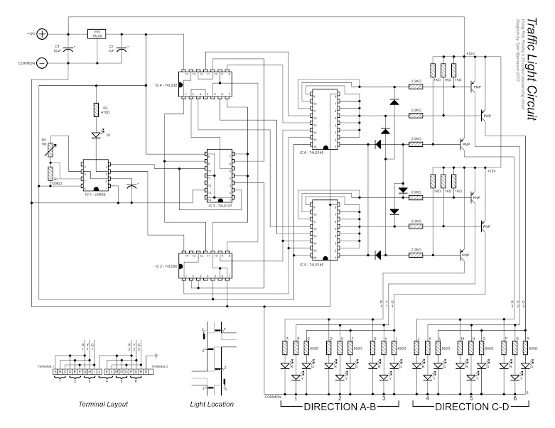 Wiring diagram for a 20 output traffic light controller circuit