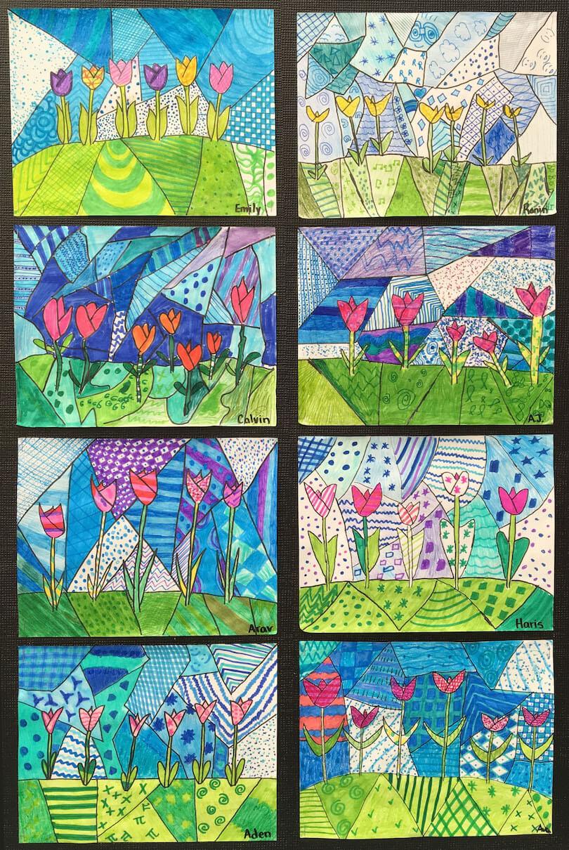Spring Art Gallery: Tulip Art by a 3rd Grade Class