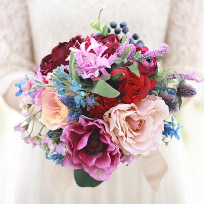 アネモネとローズのブーケ_ウェディングブーケと花髪飾りairaka
