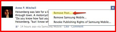 how to remove a post on facebook page