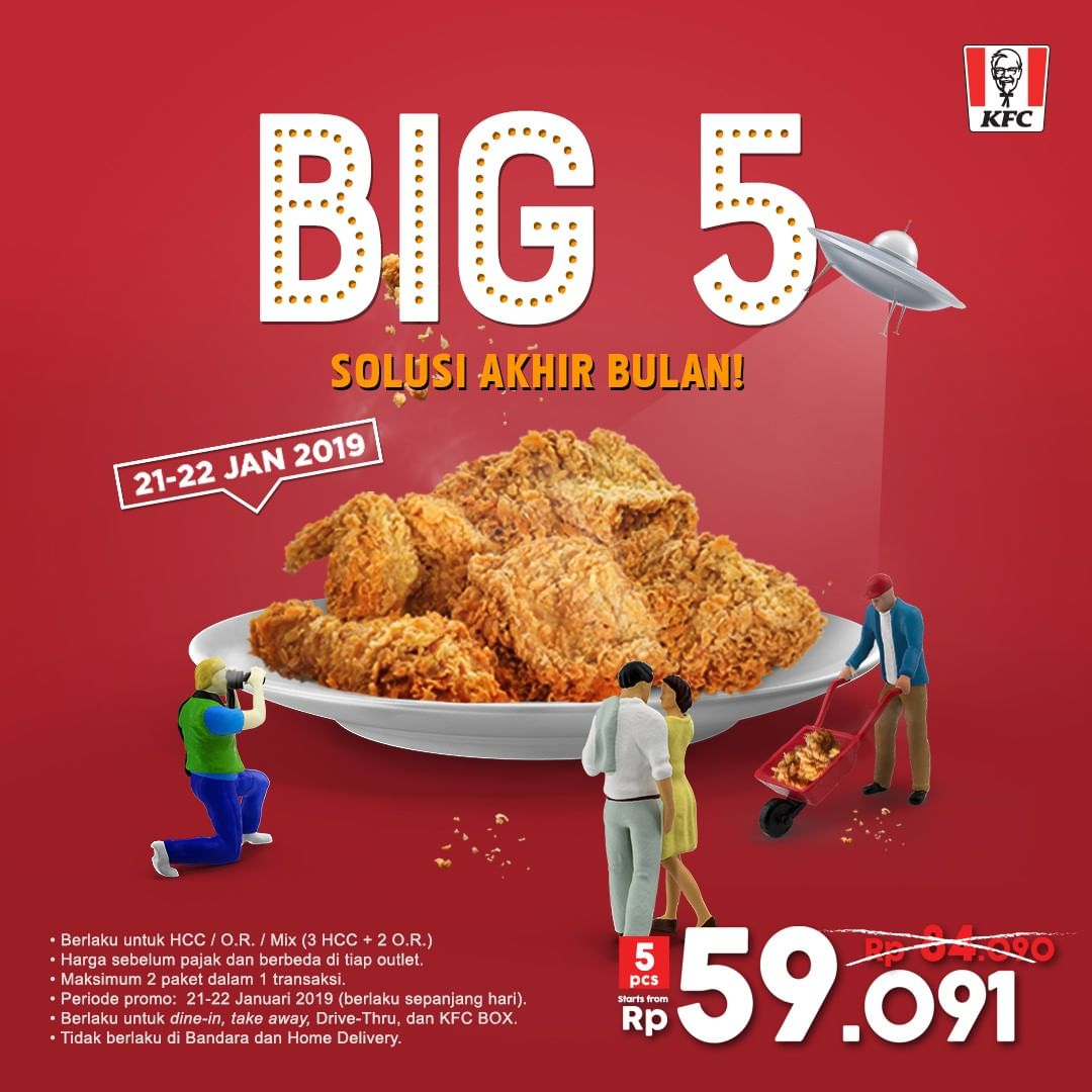 #KFC - Promo Big 5 Isi 5 Ayam Mulai 59Ribuan (s.d 22 Jan 2019)