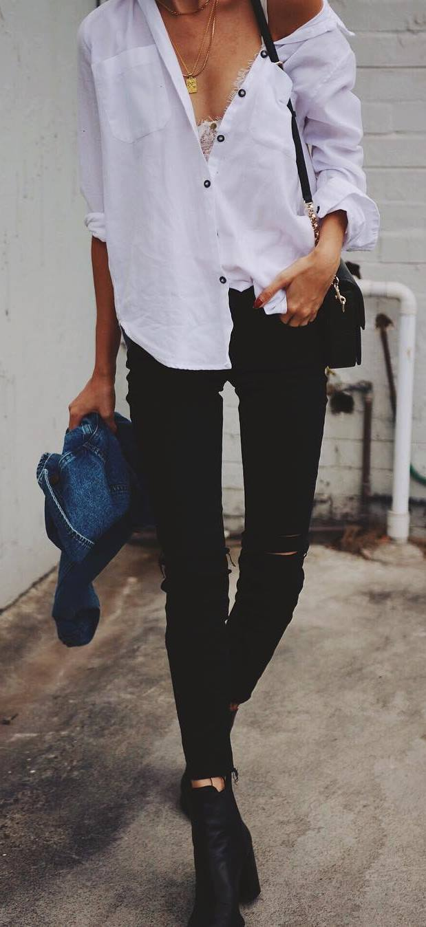 street style obsession: white shirt + bag + rips