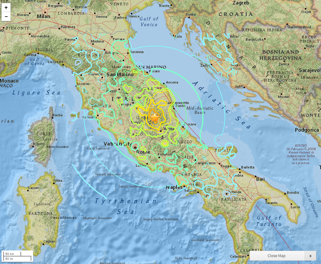 Interactive Map of the M62 Earthquake in Italy Ecoclimax