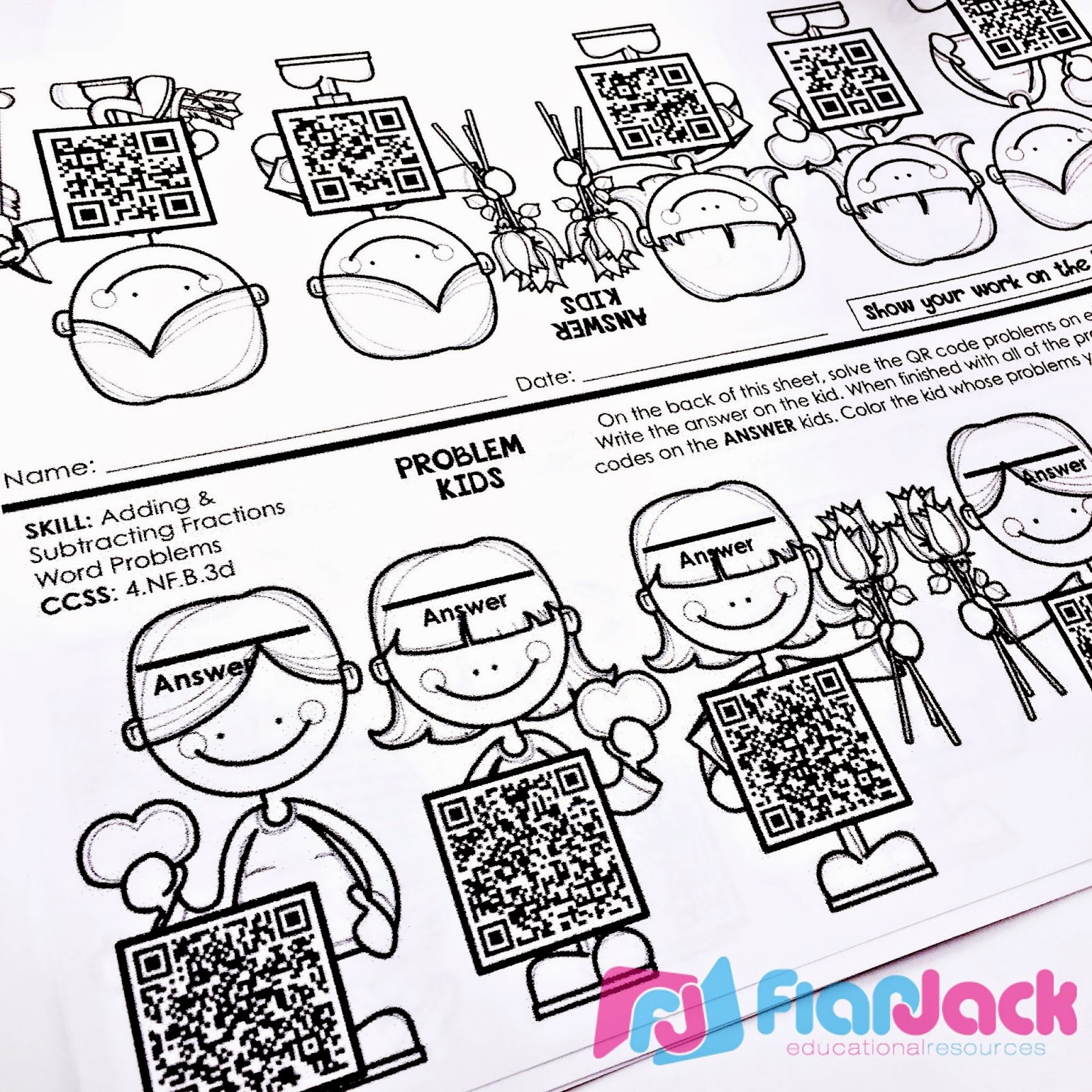 Flapjack Educational Resources Fraction Hearts Qr Code Math Center Freebie