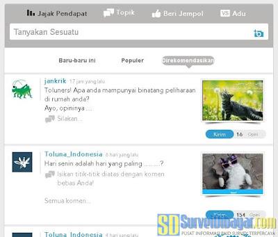 Menu Jajak Pendapat di Toluna Indonesia | Survei Dibayar