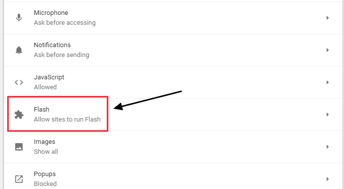 open flash settings in chrome