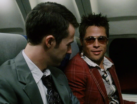 El Narrador (Edward Norton) y Tyler Durden (Brad Pitt) en el Club de la Lucha - Cine de Escritor