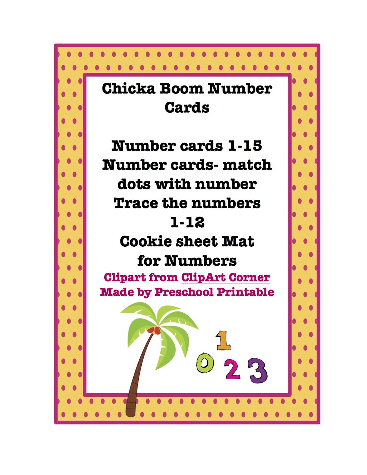 Chicka Boom Number Cards Preschool Printables