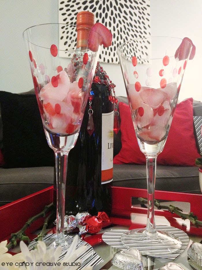 wine glasses, heart shaped coasters, red serving tray, strawberries on wine glass