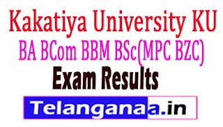 Kakatiya University KU BA BCom BBM BSc(MPC BZC) Exam Results 2017