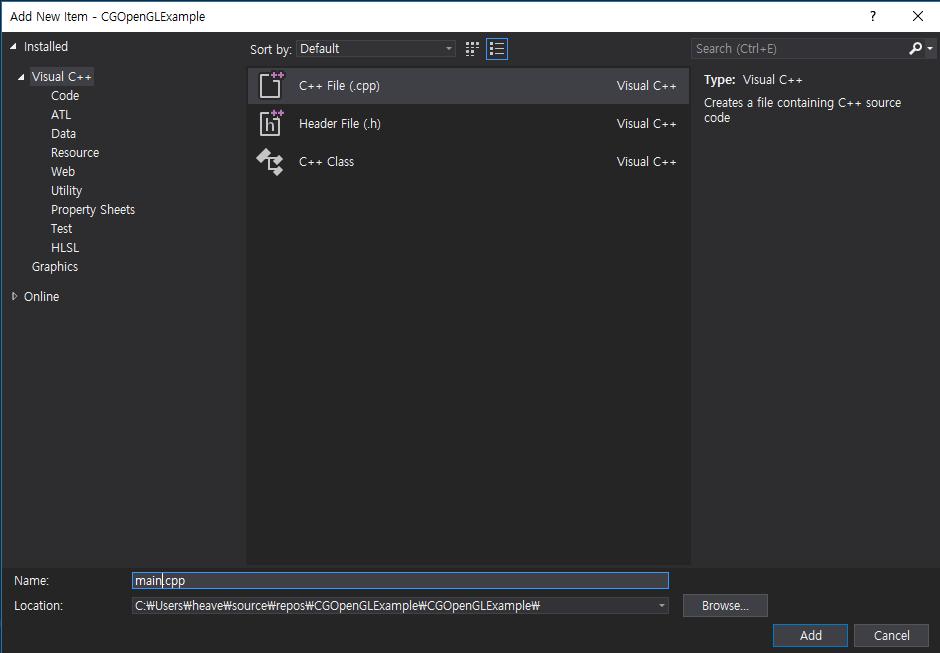 OpenGL] Installation of OpenGL with Visual Studio 2017 (GLFW, GLEW
