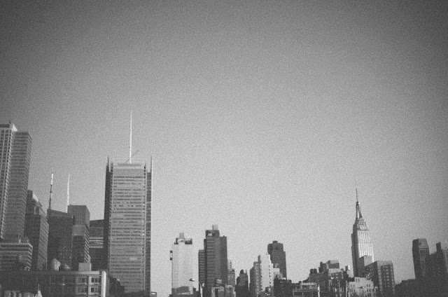 Manhattan, skyline, black, white, film