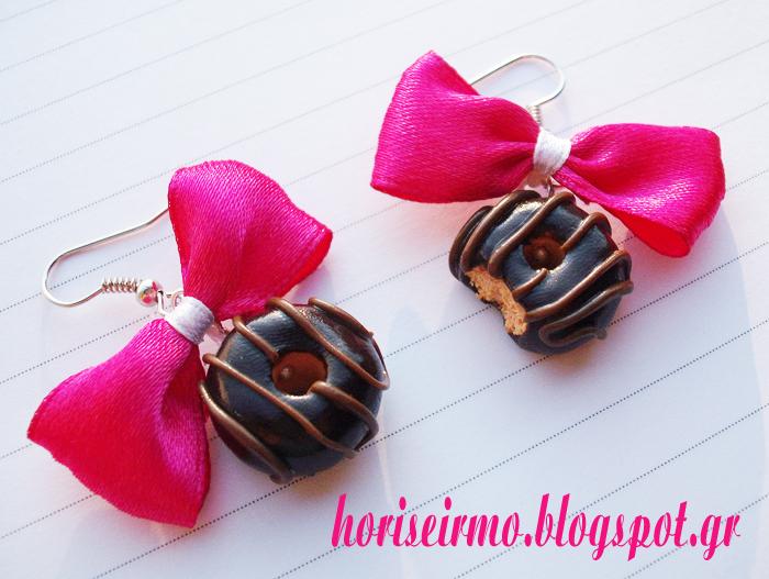κρεμαστά σκουλαρίκια - ντόνατς σοκολάτας από πολυμερικό πηλό