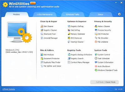 Screenshot WinUtilities Professional 15.1 Full Version