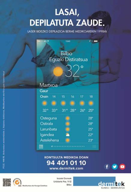 cartel dermitek depilacion hombre euskera