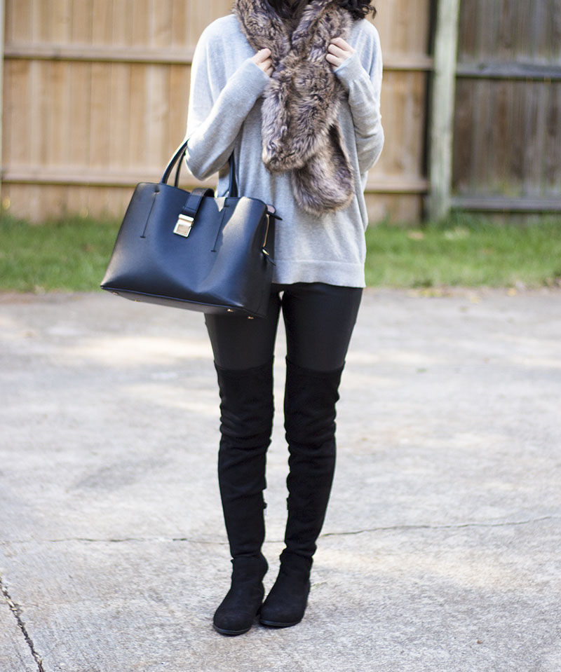 over the knee boots and faux fur outfit