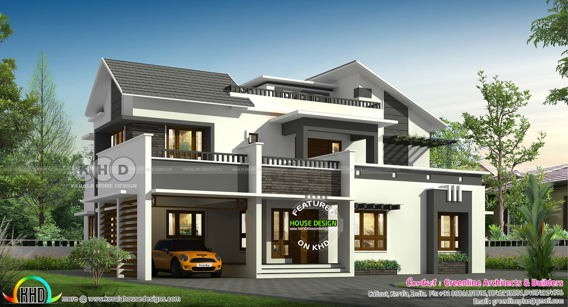 2794 Sq T 4 Bhk Slanting Roof Mix Contemporary Home