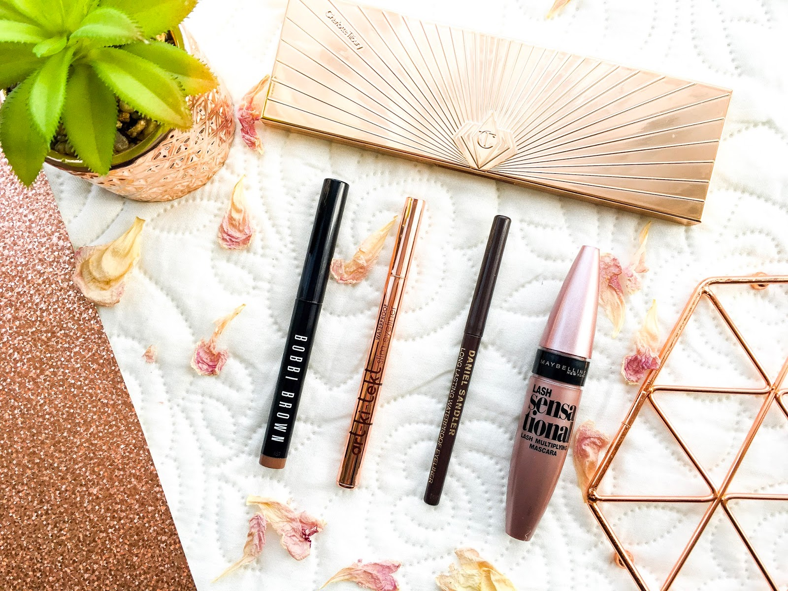 bobbi brown long wear shadow stick taupe, charlotte tilbury instant eye palette, la splash art ki tekt eyeliner, maybelline lash sensational, daniel sandler velvet eye pencil
