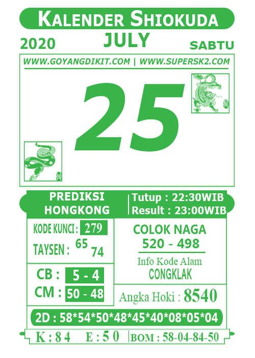 Kode syair Hongkong Sabtu 25 Juli 2020 217