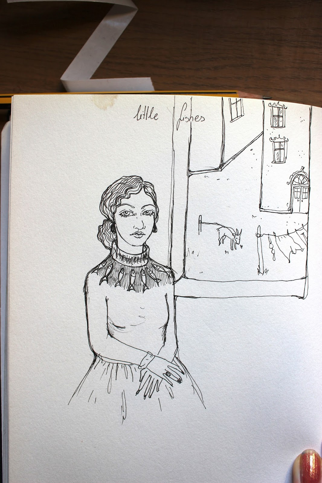Sketchpad Notebook Sketch Drawing Pencil Girl By Window