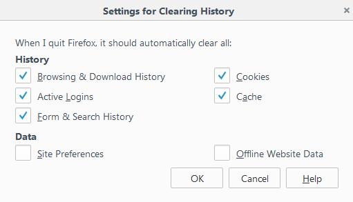 cách tự động xóa lịch sử firefox khi tắt máy