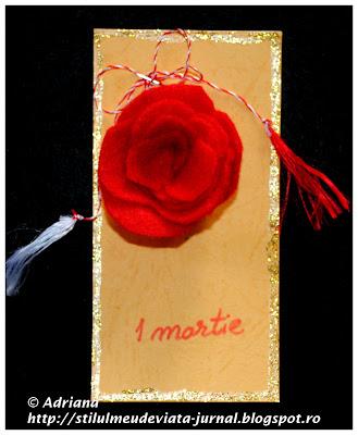 martisor trandafir rosu din fetru