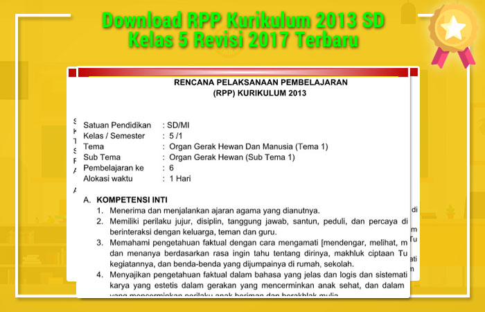 Download RPP Kurikulum 2013 SD Kelas 5 Revisi 2017