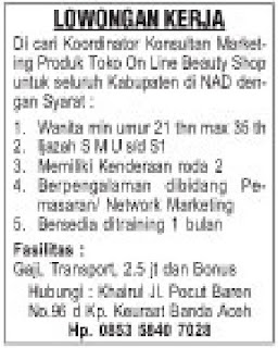 Loker Marketing Produk Toko On Line Beuty Shop