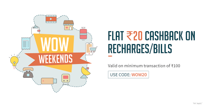 FreeCharge – Get Rs 20 Cashback on Rs 100 Recharge/Bill Payment