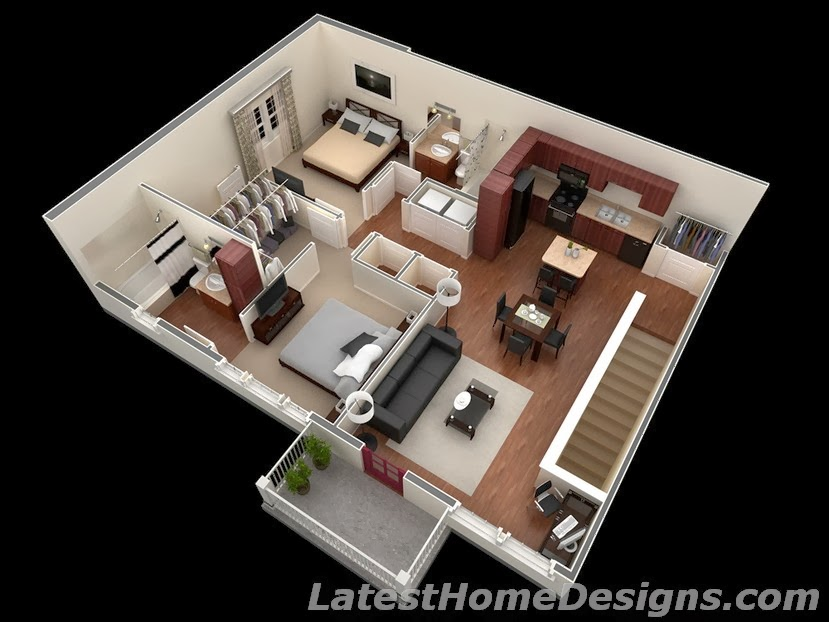 3 Bedroom Apartment 3d Floor Plans Modern Home Design And