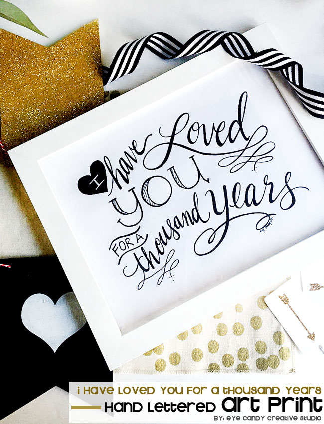 black & white heart, love, wedding decor, framed art, habd lettering