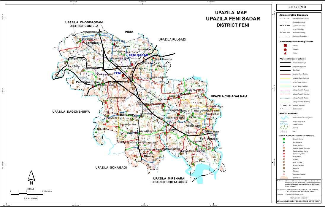 Feni Sadar Upazila Map Feni District Bangladesh