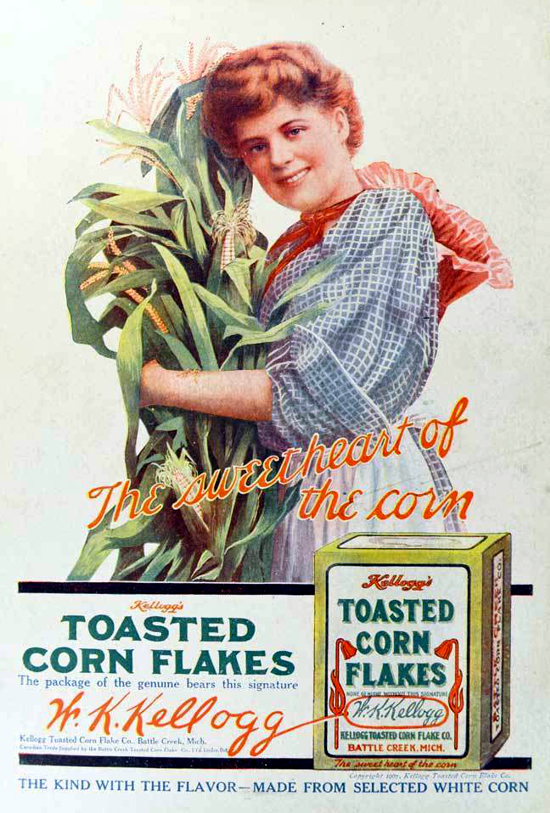 Kellogg's Toasted Corn Flakes, advertising with new logo 1907